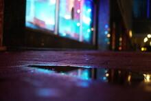 Purple Light Street Puddle