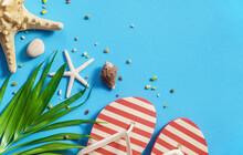 Tropical Beach Blue Flat Lay Background