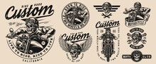 Custom Motorcycle Vintage Monochrome Emblems