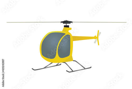 Tela Yellow isolated helicopter. vector illustration