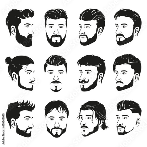 Canvas Set of men's different hairstyles and beards on white background