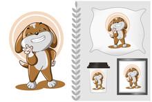 Mockup Set, Small Brown Dog Show Him Teeth With Him Pose Cute