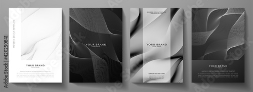 Obraz Modern cover design set.  Abstract wavy line pattern (guilloche curves) in monochrome color: black, white. Premium stripe vector layout for business background, certificate, brochure template, booklet - fototapety do salonu