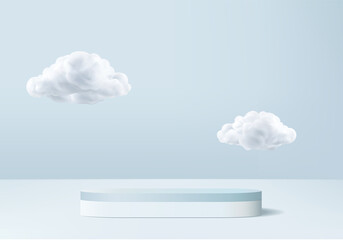 3d display product abstract minimal scene with cloud podium platform. cylinder background vector 3d rendering with podium. stand for cosmetic products. Stage showcase on pedestal 3d blue studio