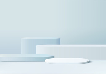 3d display product abstract minimal scene with geometric podium platform. cylinder background vector 3d rendering with podium. stand for cosmetic products. Stage showcase on pedestal 3d blue studio
