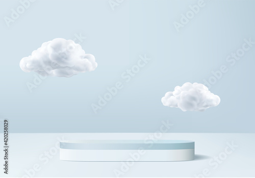 Obraz na plátne 3d display product abstract minimal scene with cloud podium platform