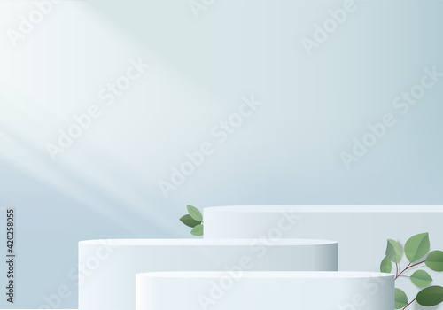 Obraz 3d background products display podium scene with green leaf geometric platform. background vector 3d render with podium. stand to show cosmetic products. Stage showcase on pedestal display blue studio - fototapety do salonu