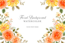 Orange Rose Flower Background With Watercolor