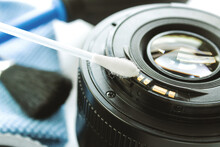 Cleaning The Camera Lens With A Cotton Swab, Close-up, Contact Repair, Camera Cleaning Accessories