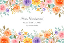 Colorful Watercolor Rose Flower Background