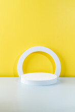 Abstract Empty Podium For Your Product On Yellow Background. 3D Rendering. Minimal Concept.