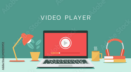 Obraz video player icon on laptop computer, concept of webinar, business online training, education or e-learning and video tutorial, vector flat design illustration - fototapety do salonu