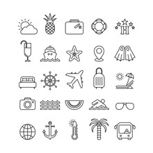 Marine Flat Vector Icons Set. Trip Flat Vector Icons
