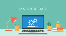 Laptop Computer With Software System Update And Development Concept, Vector Flat Design Illustration