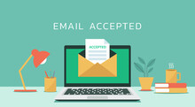 Email Accepted On Laptop Computer Screen Concept With Letter And Paper Document, Vector Flat Design Illustration