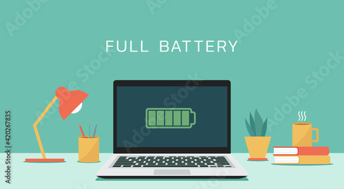 Fotografia Laptop computer with full battery icon on screen concept, vector flat design ill