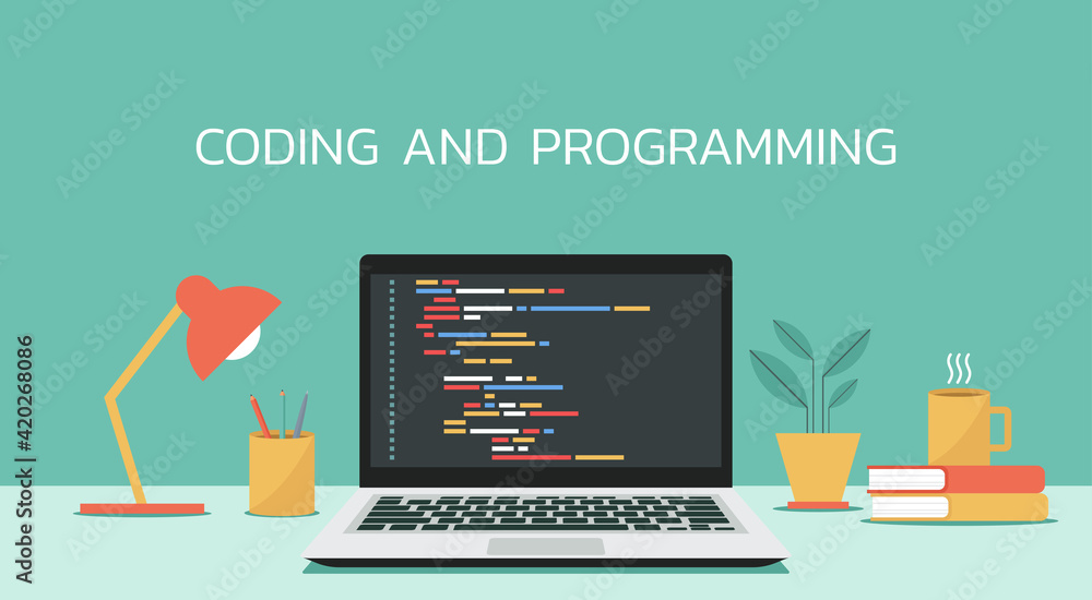 Fototapeta coding and programming software on window laptop computer screen concept, vector flat design illustration