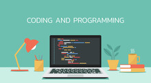 Coding And Programming Software On Window Laptop Computer Screen Concept, Vector Flat Design Illustration