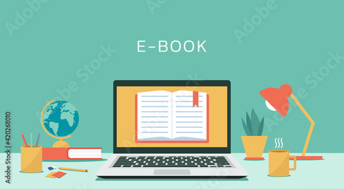 Obraz e-book concept on laptop computer with textbook, electronic education or e-learning and online learning, vector flat design illustration - fototapety do salonu