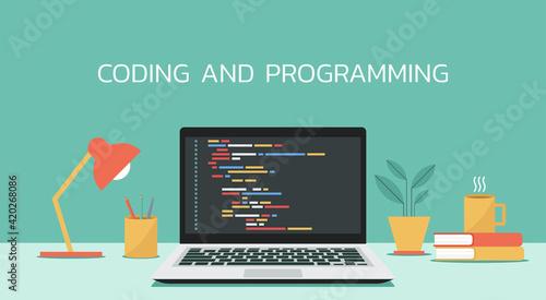 Obraz coding and programming software on window laptop computer screen concept, vector flat design illustration - fototapety do salonu