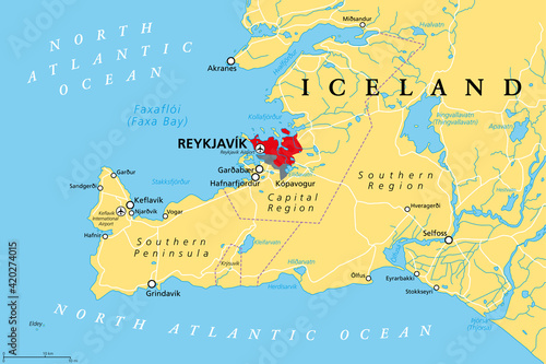 Iceland, Capital Region and Southern Peninsula, political map Fotobehang
