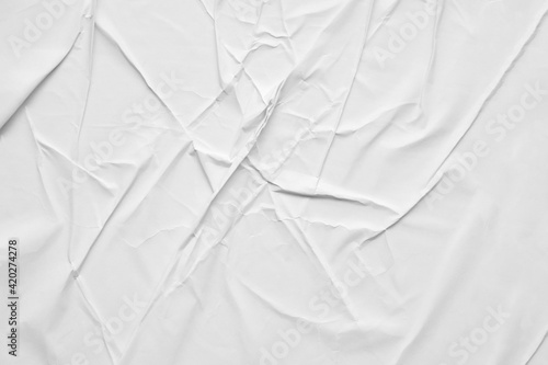 Blank white crumpled and creased paper poster texture background Wallpaper Mural