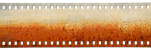 Grunge Film Strip Background.Rust Of Metals.Corrosive Rust On Film Size 35mm.