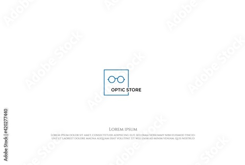 Simple Minimalist Eye Glass Optic Spectacles Store Logo Design Vector