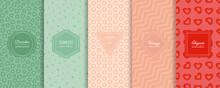 Vector Geometric Seamless Patterns Collection. Set Of Bright Colorful Background Swatches With Elegant Minimal Labels. Cute Abstract Ornament Textures. Modern Design. Green, Pink, Powdery, Red Color