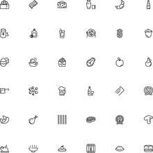 Icon Vector Icon Set Such As: Fat, Everyday, Boletus, Closed, Crescent, Lemon, Gadgets, Peppercorn, Machine, Turkish, Heat, Decoration, Fettuccine, Caviar, Pint, Froth, Wineglass, Kitchenware