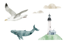 Watercolor Illustration With The Lighthouse, Seagull, And Whale