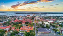 St Augustine, Florida, USA Downtown Drone Skyline Aerial