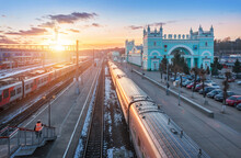 Railway Station And Trains On Tracks In Smolensk