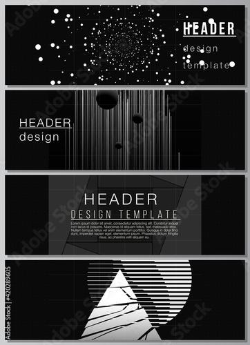 Obraz Vector layout of headers, banner templates for website footer design, horizontal flyer design, website header.Black color technology background. Digital visualization of science, medicine,tech concept - fototapety do salonu