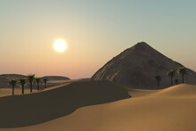 Old Pyramid Covered With Sand, Pyramid In The Sand Desert At Sunset Among Palm Trees, 3D Rendering