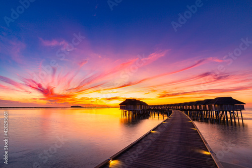 Fotografie, Obraz Amazing sunset panorama at Maldives