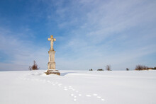 Wayside Cross In The Snow