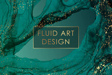 Modern Abstract Background Design Or Card Template For Birthday Greeting Or Wallpaper Or Poster With Turquoise Green Watercolor Waves Or Fluid Art In Alcohol Ink Style With Golden Splashes.
