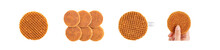Isolated Die Cut Clipping Path Traditional Authentic Dutch Netherland Sweet Fresh Homemade Delicious Tasty Stack Brown Golden Waffle Piece Butter Caramel Honey Dessert Cafe Coffee Tea Call Stroopwafel