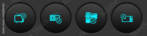 Photographie Set Tv service, Radio, Video camera and Microwave oven icon