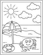 Beach Hand Drawn Vectors, Kids Coloring Page