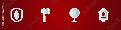 Fotografiet Set Shield corn, Wooden axe, Tree and Bird house icon. Vector