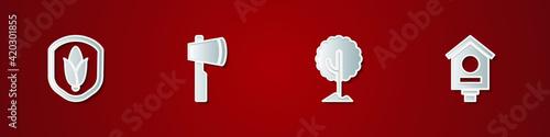Photo Set Shield corn, Wooden axe, Tree and Bird house icon. Vector