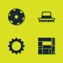 Set Football Ball, House Edificio Mirador, Sun And Spanish Hat Icon. Vector