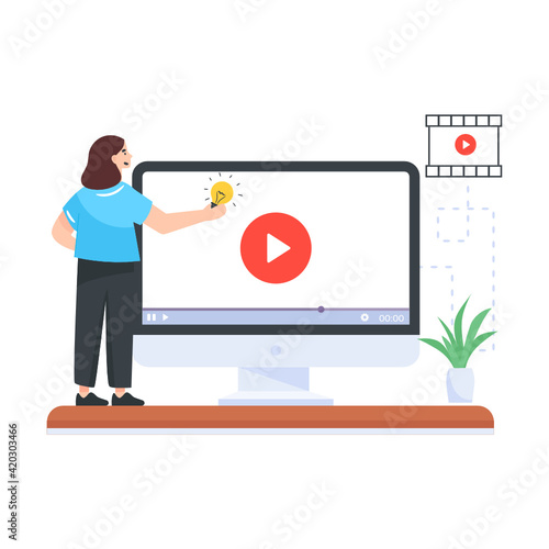 A live streaming video on a laptop, flat illustration