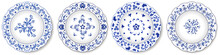 Decorative Porcelain Plates With Blue On White Pattern. Chinese Style Design, Abstract Floral Ornament. Set Of Isolated Objects. Vector Illustration