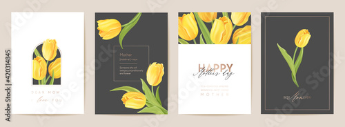Canvas Print Happy Mother day floral postcard