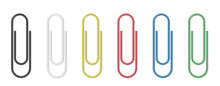 Realistic Paper Clip Set. Colorful Paperclips On White Background Isolated Templates