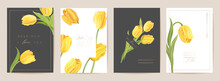 Mother Day Floral Spring Postcard. Greeting Realistic Tulip Flowers Template, Modern Flower Background