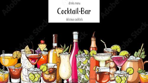 Fototapeta Alcoholic cocktail. Hand drawn vector illustration. Hand drawn drinks illustration. Cocktails set. Menu design elements. obraz na płótnie